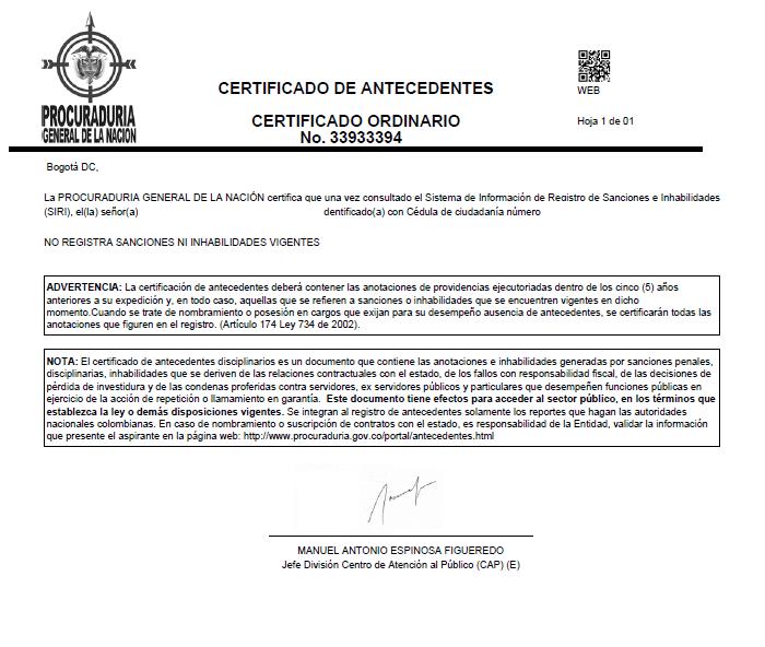 Certificado Antecedentes Disciplinarios